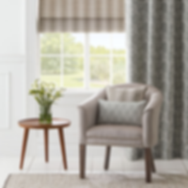 Roman blind with side drape