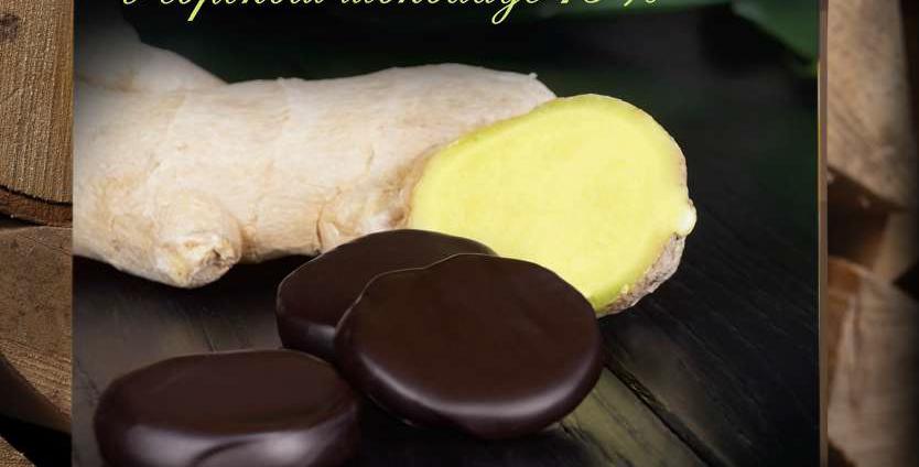 Сочный корень имбиря в шоколаде