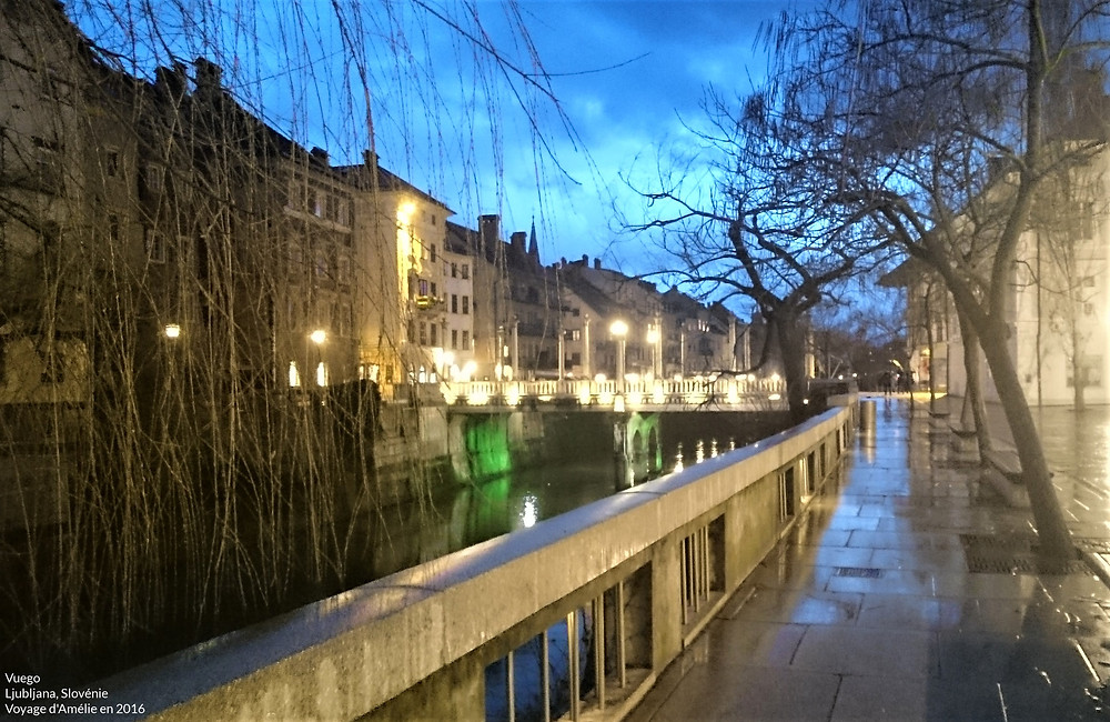 Centre-ville de Ljubljana de nuit au bord de la rivière