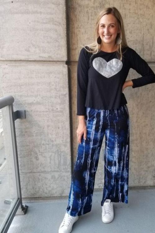 Lounge Pant- Ink blue Print