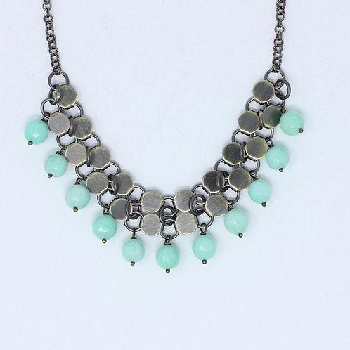 Light Blue Agate Statement Necklace