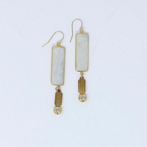 Recatungular Moonstone Earrings