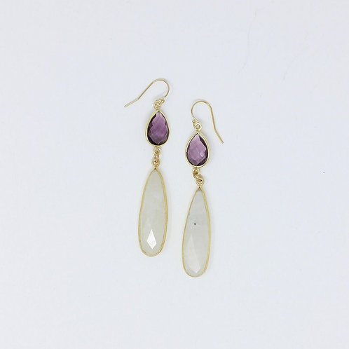 Moonstone and Amethyst Earrings