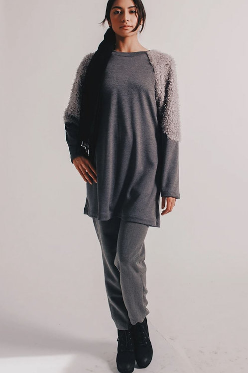 Geo Knit Tunic with Fur Sleeves