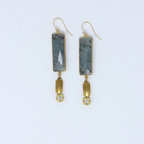 Rectangular Labradorite Earrings