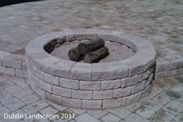 Stacked Stone Fire Pit Fireplace Design Ideas Tumbled Camelot Pavers Paver Patio Brick Landscaping