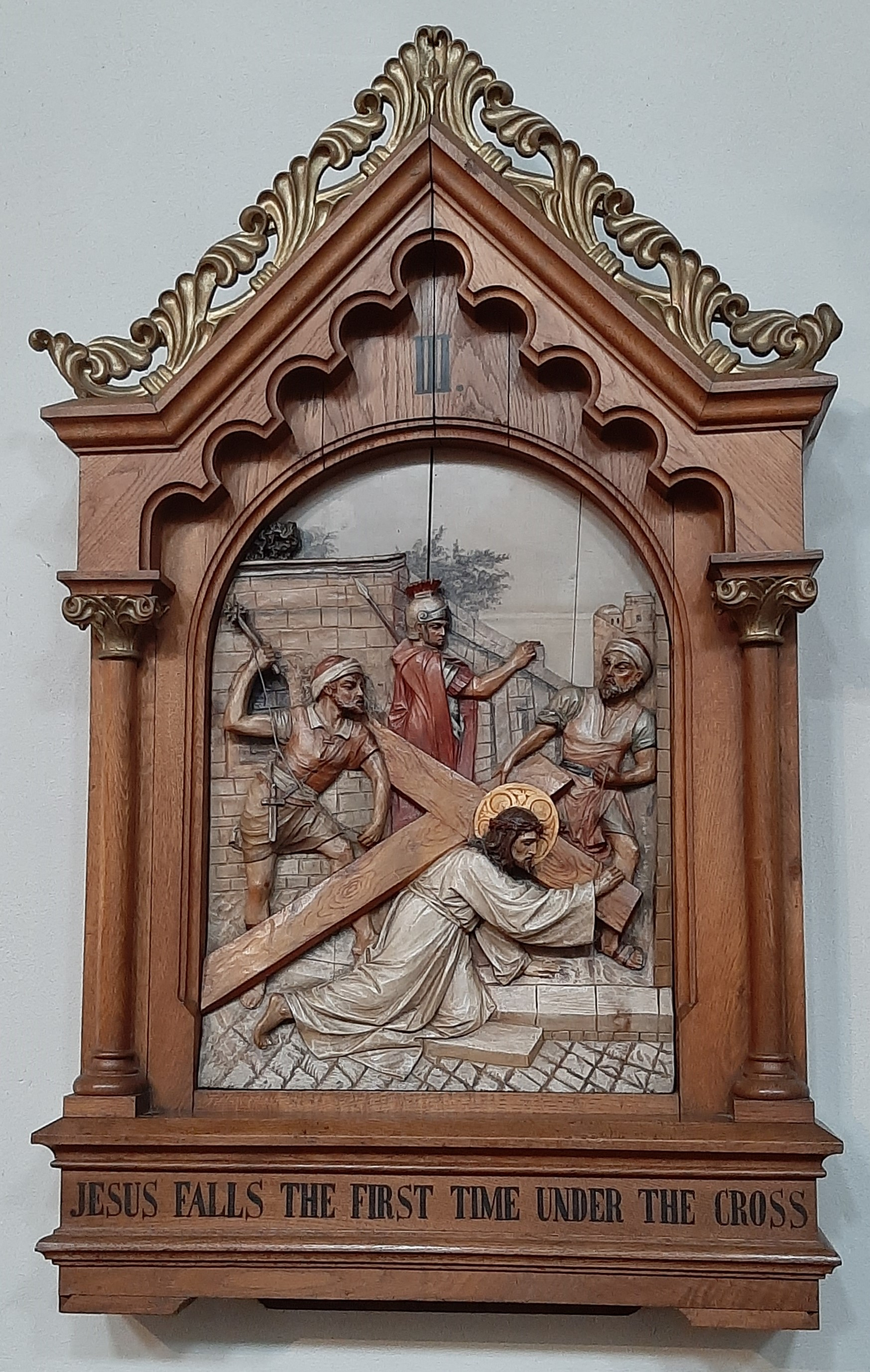 Third Station: Jesus falls the first time.