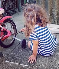 child, kinder, velo, fahrrad, flicken, v