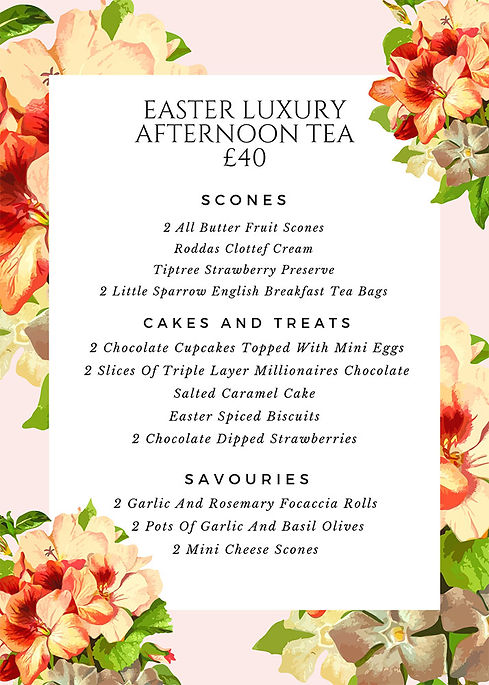 Luxury Easter Aftenoon Tea Menu - Simply