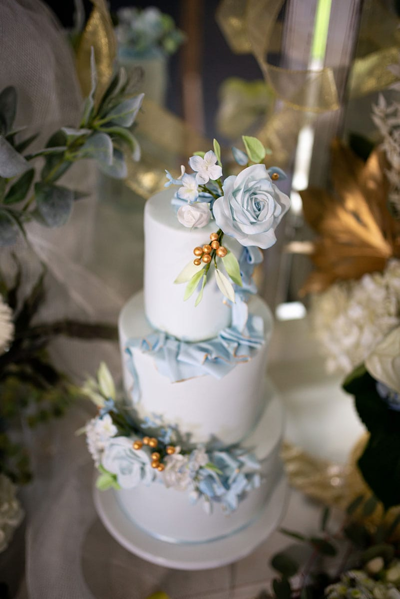 White and Blue Wedding Cake by Simply Ir