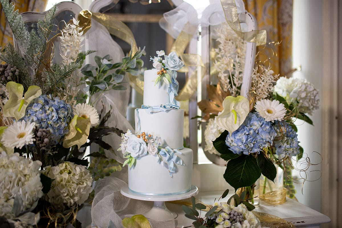 White and Blue Wedding Cake 2 by Simply
