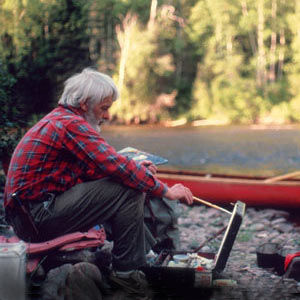 Bill Mason Painting in Wilderness