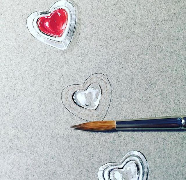Etude de cœurs : diamants et saphirs