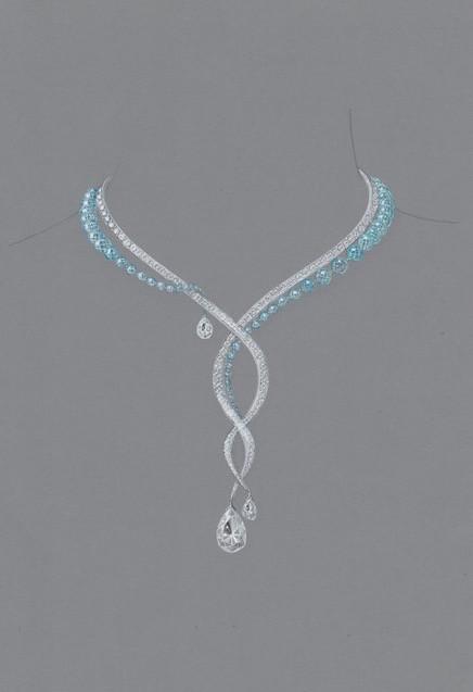 Projet d'un collier haute-joaillerie : diamants et aigue-marine