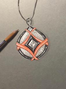 Gouaché d'un pendentif : corail, onyx, diamants et laque