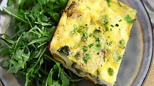 Nutritional Leafy Green Vegetable Egg Frittata with Pesto sauce.