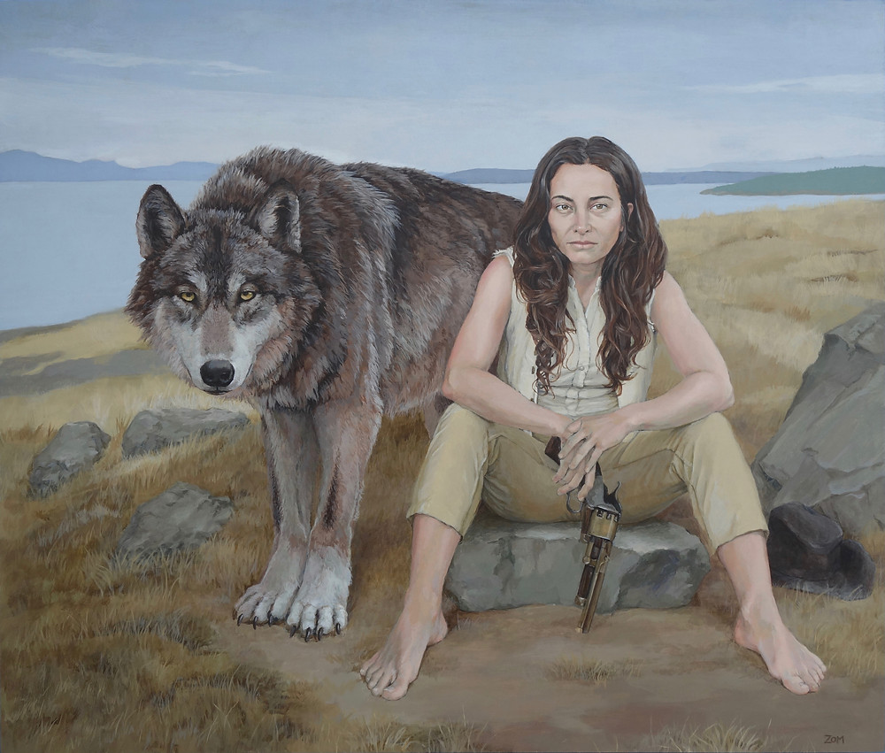 acrylic painting of a seated woman with a wolf