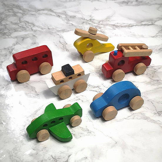 Set of 6 Wooden Land, Sea & Air Toys