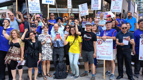 Rally at Yonge and Bay in Toronto, where I was a speaker, event held with the support of the $15 and Fairness.