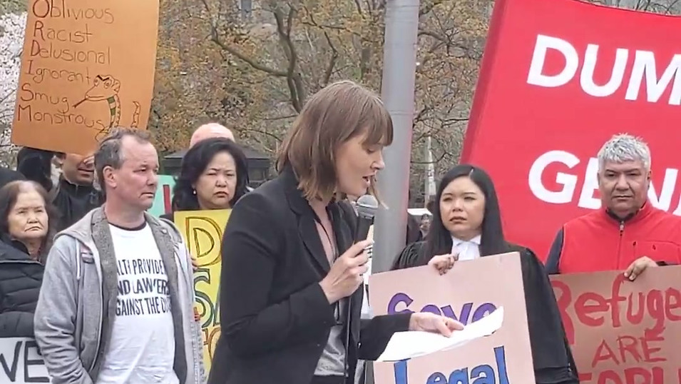 Speaking at Rally to Stop Ford's Cuts to Legal Aid: lawyers and doctors May 7, 2019.