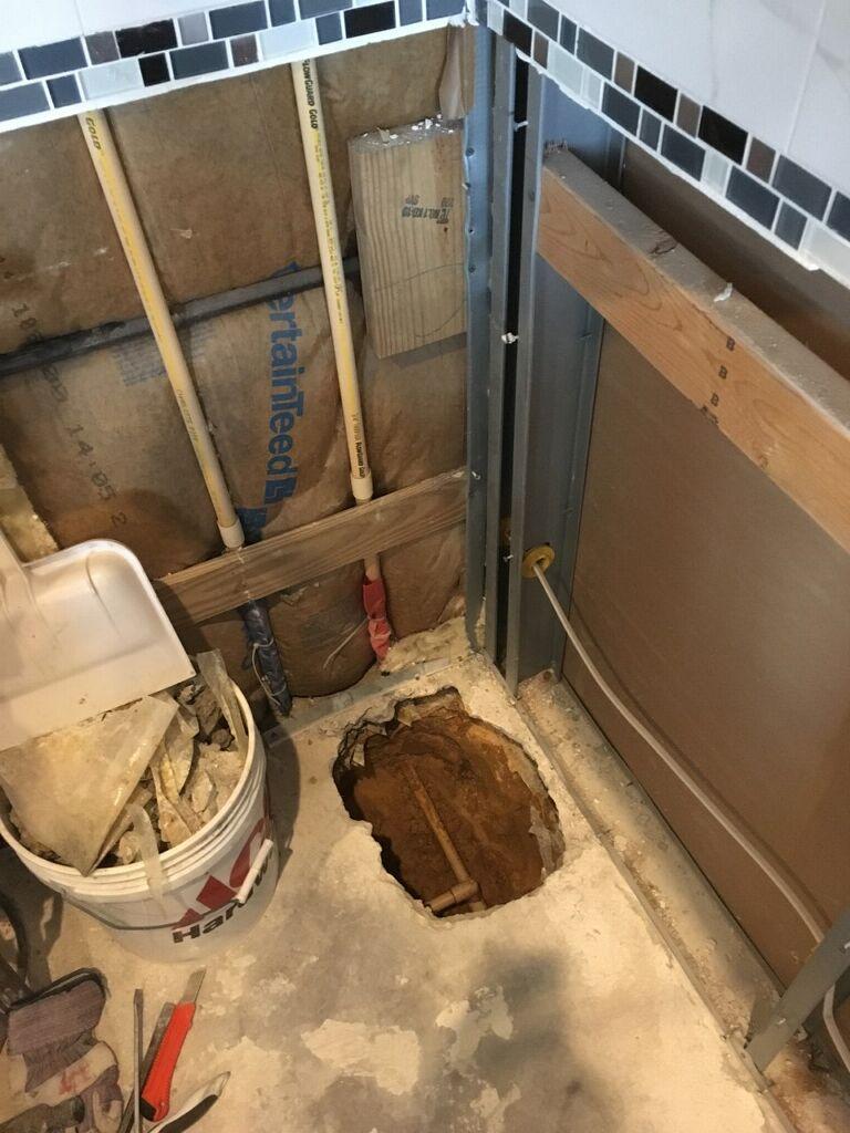 Slab leak under kitchen cabinets