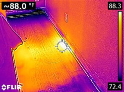 Thermal Image of wet wood. The water leak detectors, leak detection, leak detection company, leak de