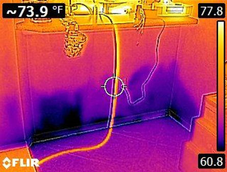 Thermal Image Wet Wall Of Water Leak Detection. The water leak detectors, leak detection, leak detection company, leak detection near me, leak detection services, plumbing leak detection, slab leak detection, water leak detection.