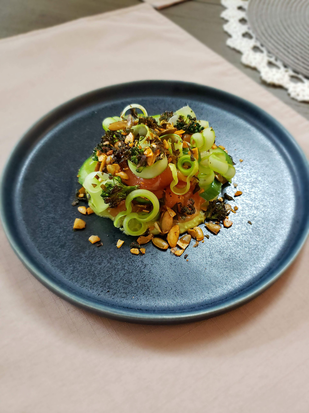 Pickled Avocado | Cucumber | Charred Broccoli Florets | Broccoli Stem Curls | Pumpkin Seed & Kale Crunch