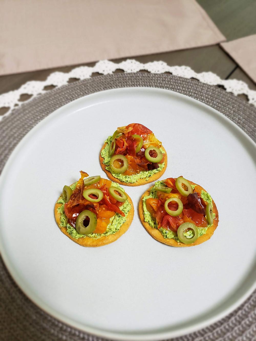 Basil Mascarpone | Smoked Chipotle Confit Tomatoes | Cherry Tomato Skin Crunchies | Castelvetrano Olives