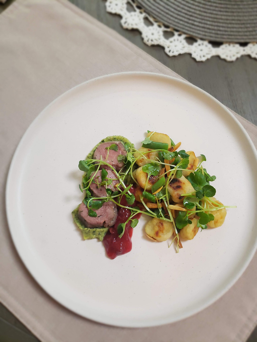 Zucchini Purée | Whiskey Plum Sauce | Toasted Gnocchi | Green Beans | Almonds | Watercress
