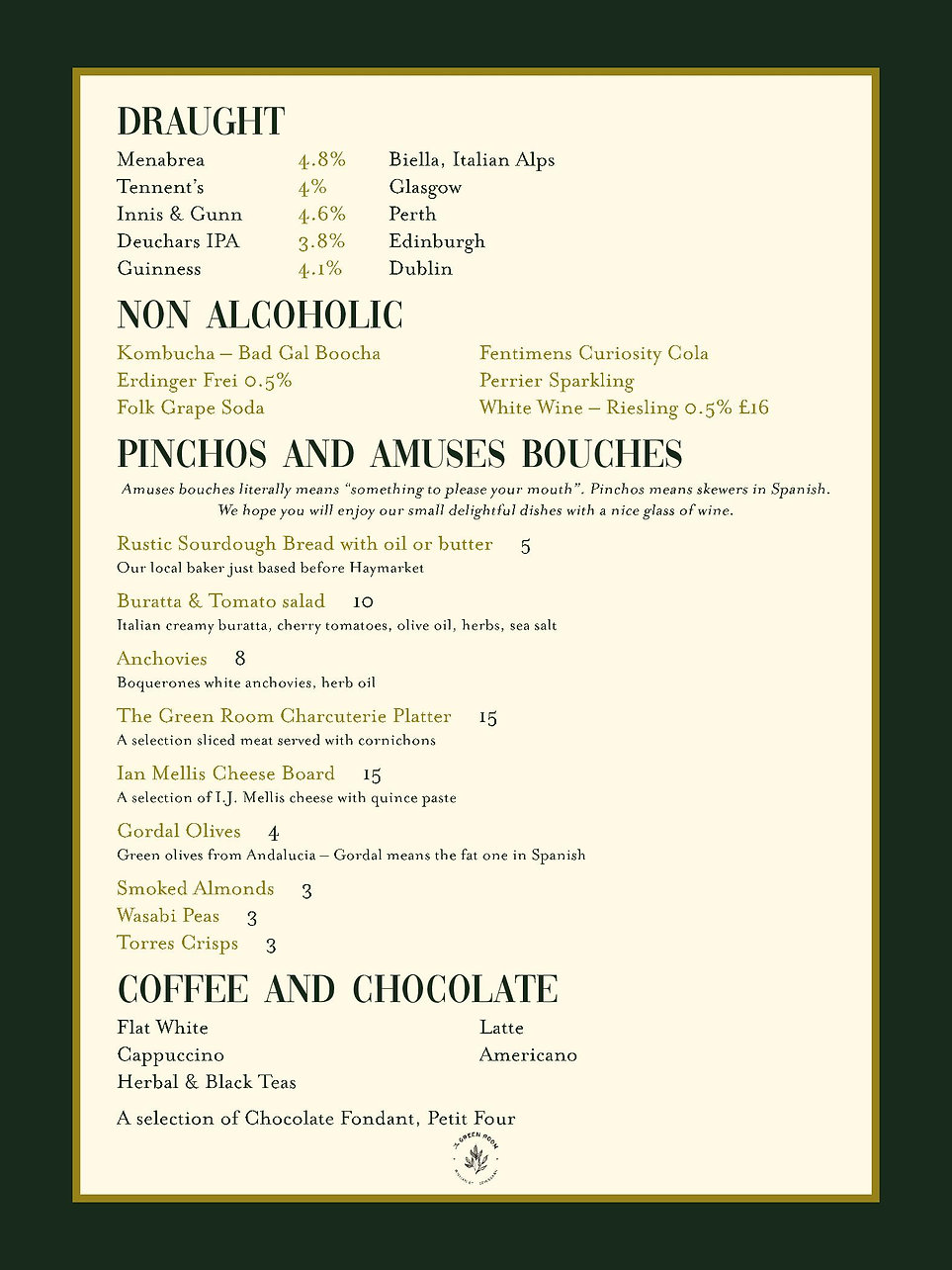 An image of the menu featuring Draught and Non-Alcoholic