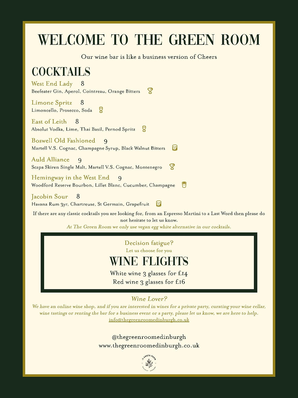 An image of the menu featuring Cocktails and Wine Flight prices