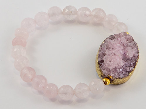 Single Rose Quartz and Gold Plated Pink Druzy