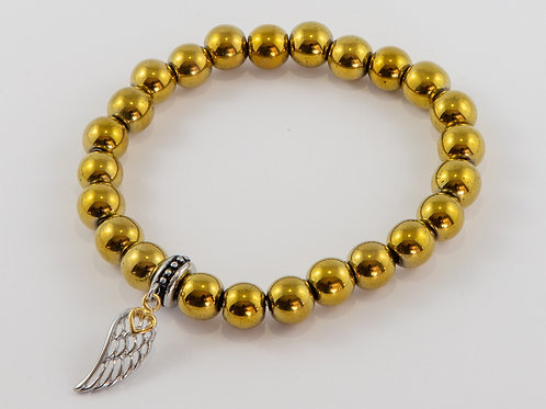 Single Gold Plate Hematite with Angel Wing Heart Charm