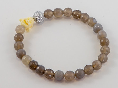 Single Faceted Gray Agate Buddha