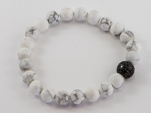 Single Howlite and Black Pave Crystal Bead