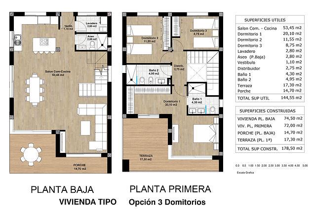 salón ampliado - 3 dormitorios