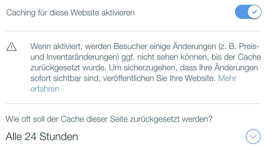 Browser Caching Einstellungen bei Wix