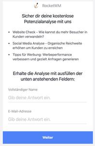 Facebook Kontakt Formular - Lead Ad
