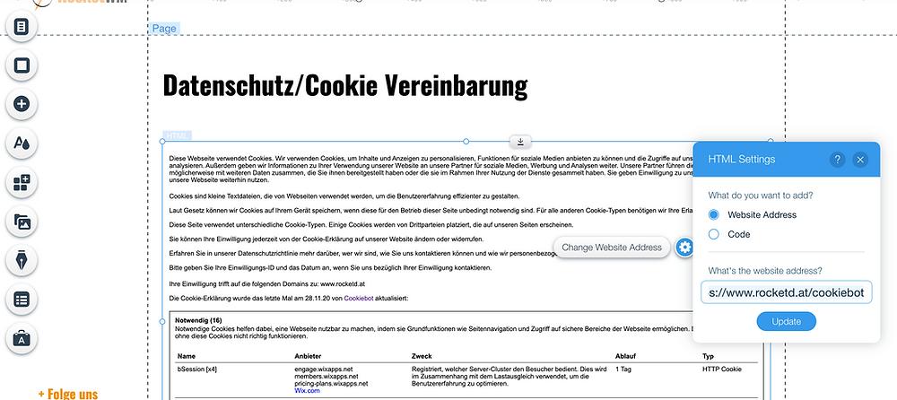 cookiebot iframe wix