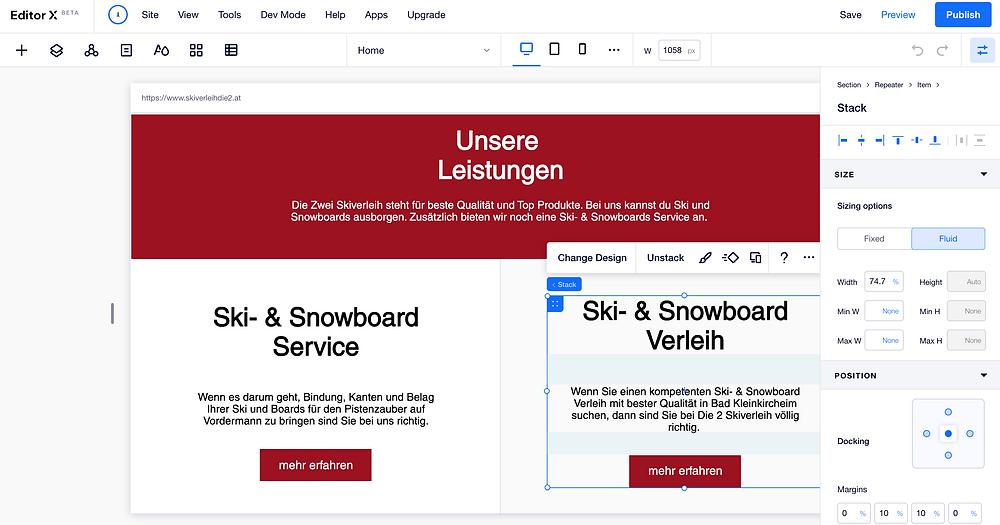 EditorX - Website Gestaltung