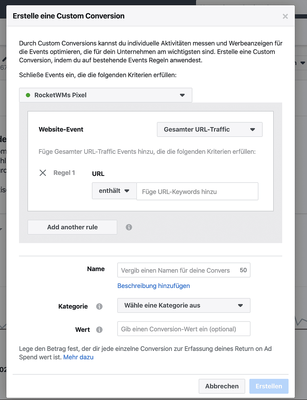 Custom Conversion mittels Facebook Pixel Tracking erstellen