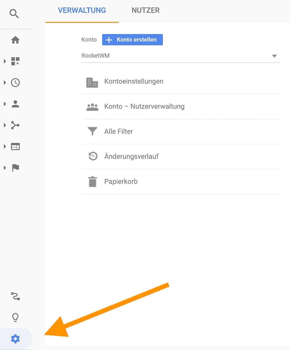 Google Analytics Verwaltung