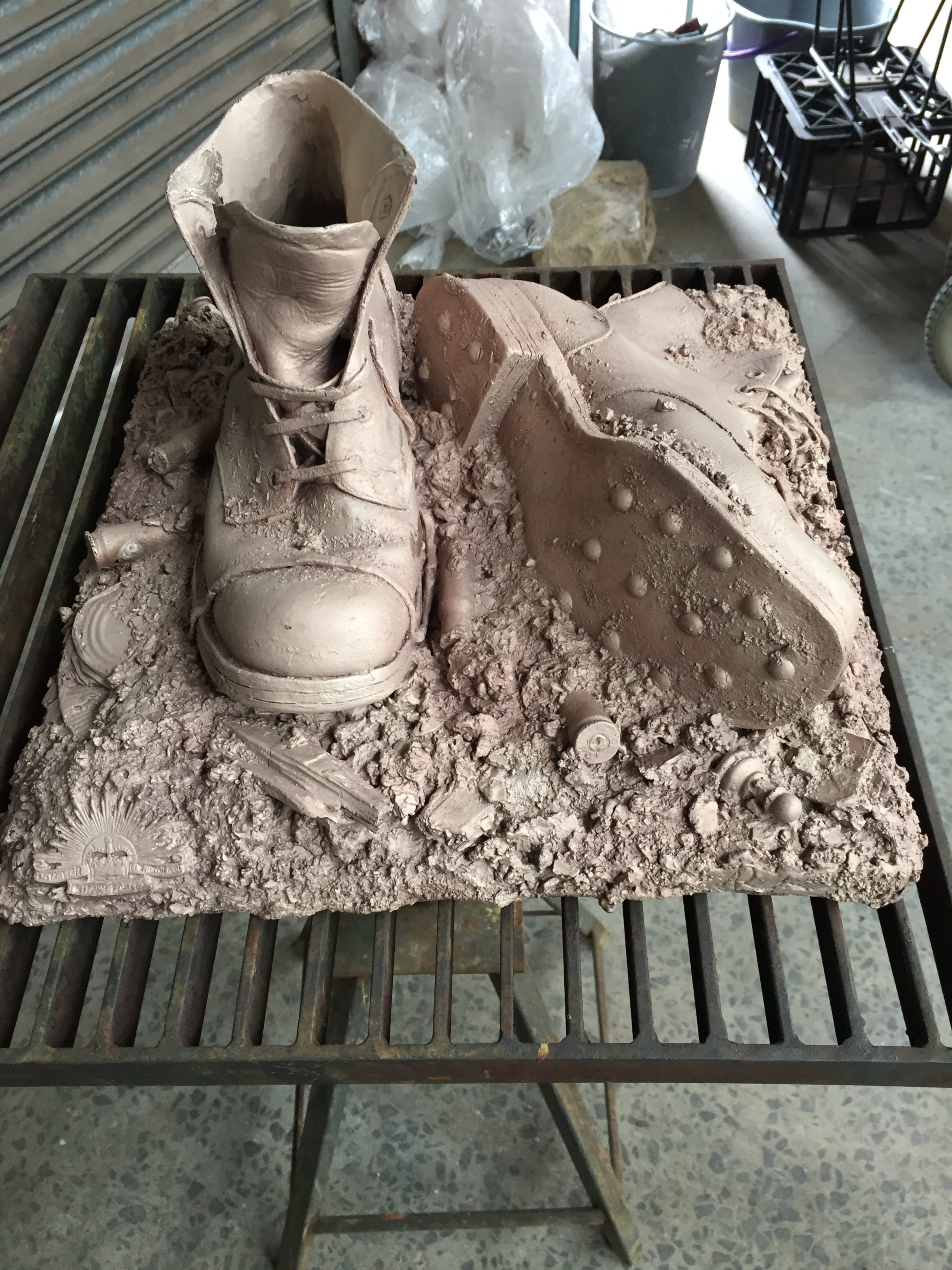 WW1 Bronze Boots. cast