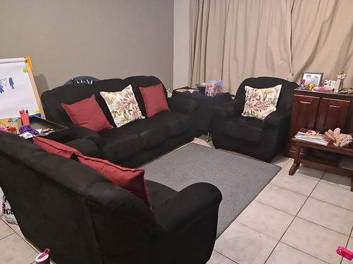 3 piece black suede lounge suite