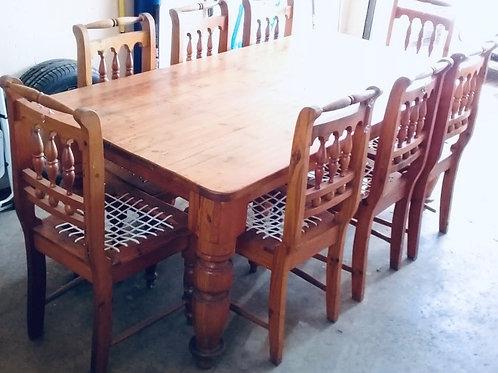 6-Seater Pine Wood Dining Set