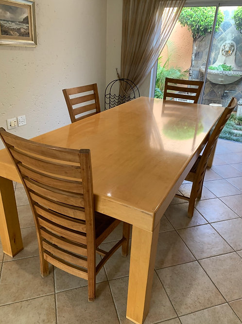 Solid Maple dining table, 4 chairs and matching sideboard
