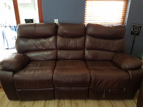 Grafton Everest 3 seater genuine leather upper recliner