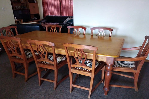 8 Seater yellow wood dining suite