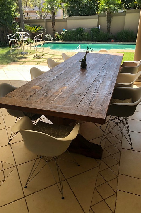 Pine Wood Dining Table with 10 chairs